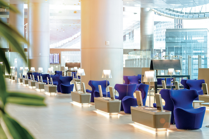Comfort continues on the ground inside the Al Mourjan Business Class lounge. Image: Qatar Airways