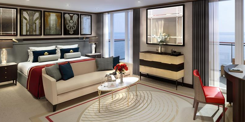 The elegant, new Queens Grill Suites will be reconfigured to maximise space. Image: Cunard Line