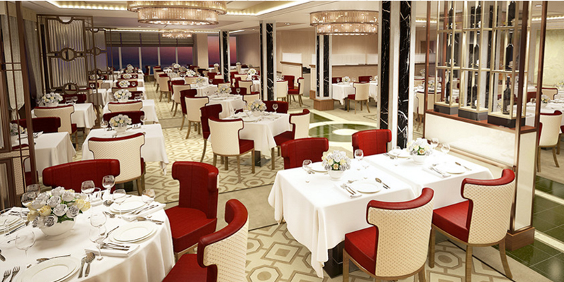 The exclusive Queens Grill restaurant will become more spacious. Image: Cunard Line