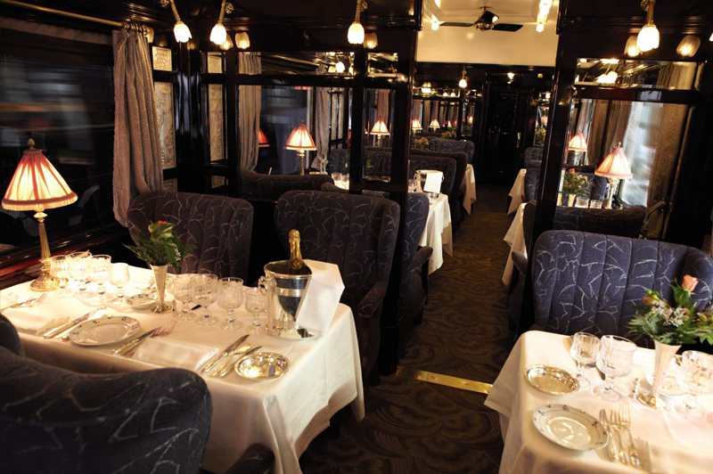 The scene in the dining carriage set for the gastronomic cuisine