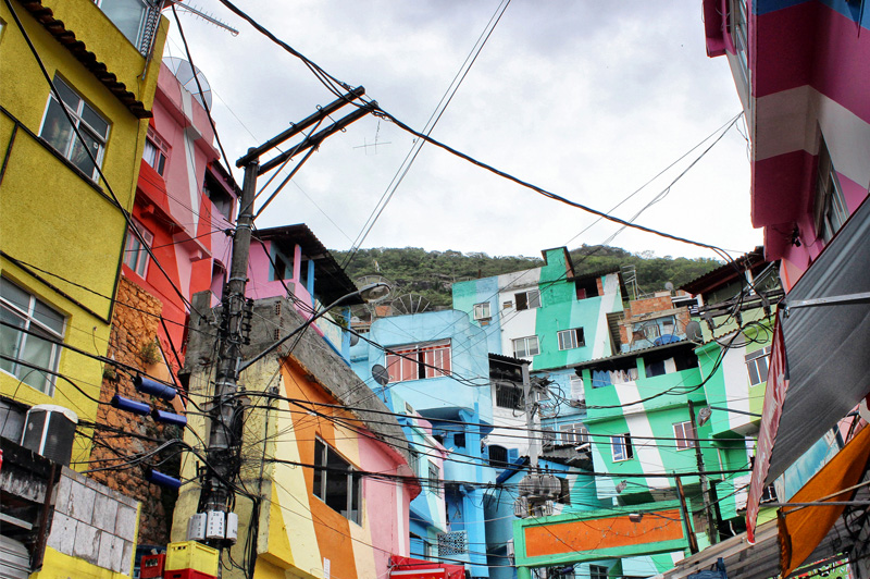 A colourful favela in Rio. Image: Getty