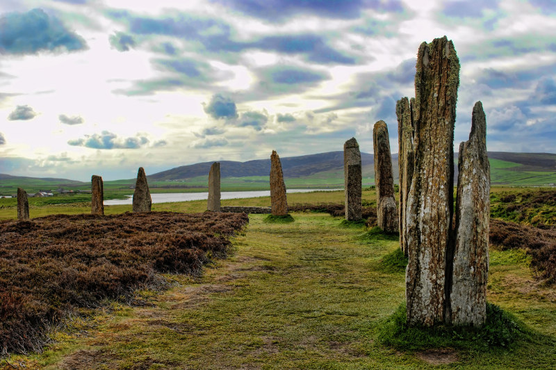 The Ring of Brodgar stone circle and henge in Orkney, Scotland.