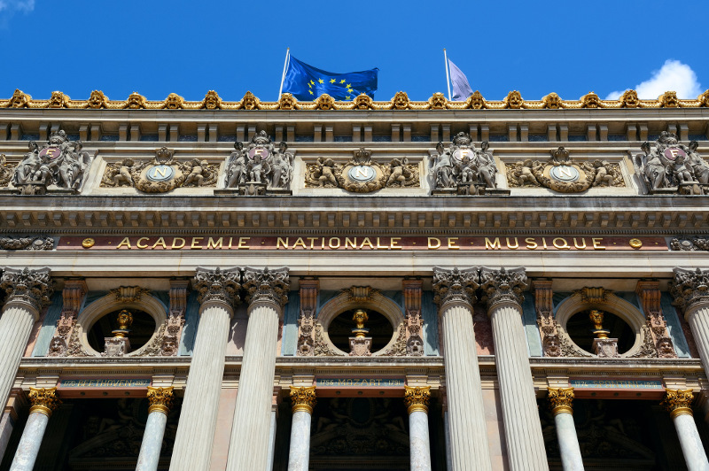 The front of the National Academy of Music in Paris