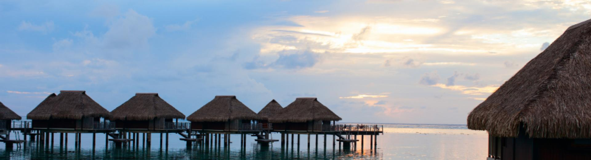 Overwater Bungalows at Sunset
