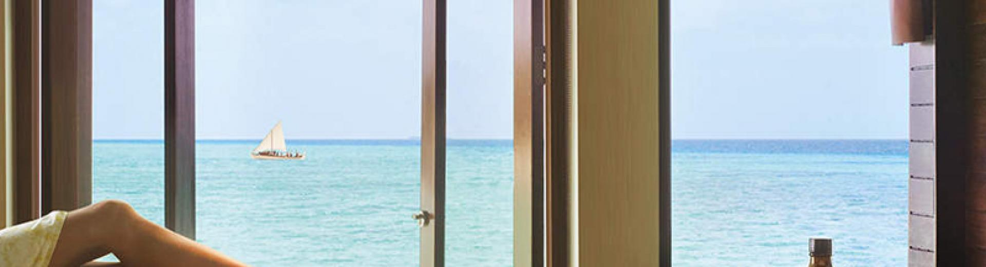 View from the Over Water Treatment Room at OneOnly Spa. Image courtesty of OneOnly Reethi Rah Maldives