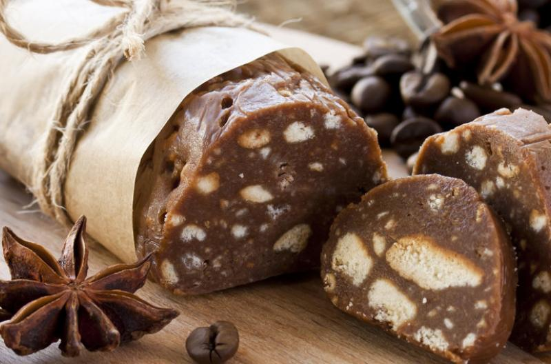 Chocolate salami, a sweet treat from Portugal, Europe