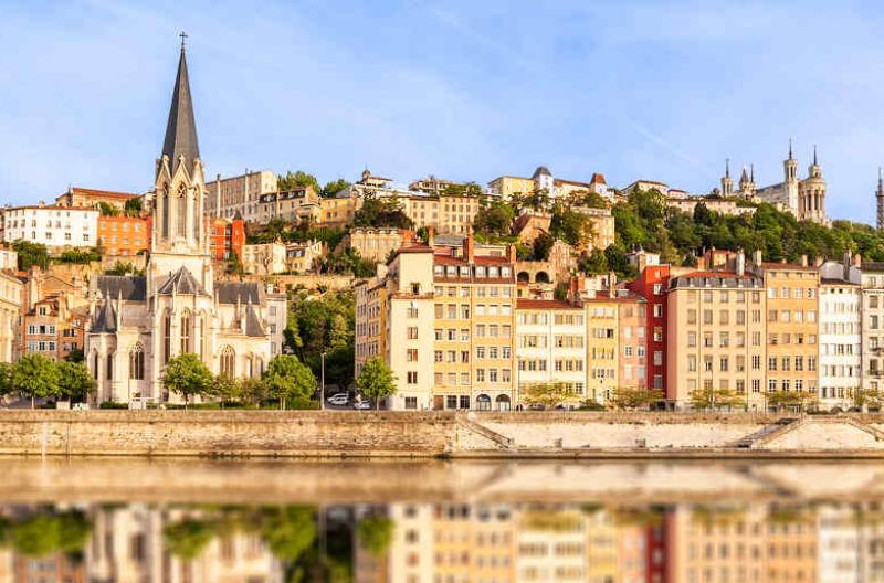 Lyon on banks of Saone