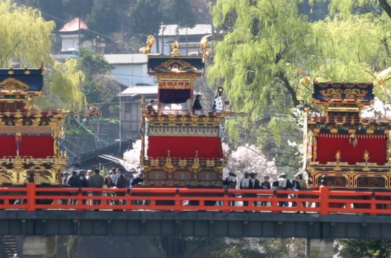 The colourful floats of the springtime Takayama Festival