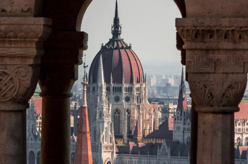 Travel Associates overlooking budapest parliament from fisherman's bastion