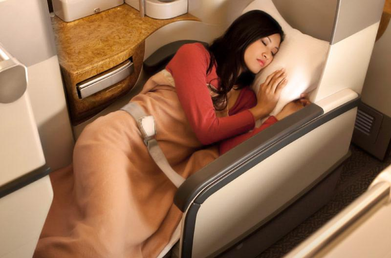 Airline lie flat business class seats