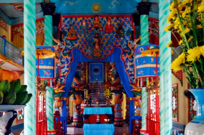 Inside a temple by day