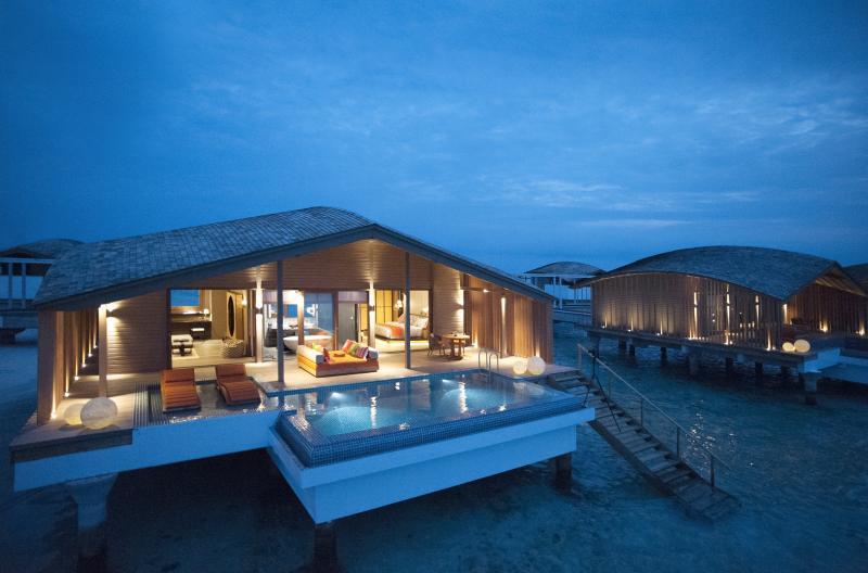 Club Med Finolhu Villas at night