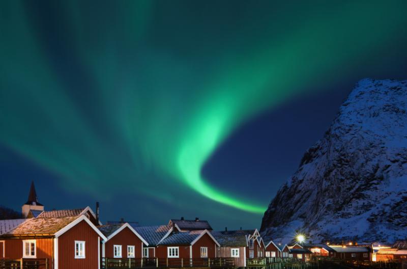 Aurora Borealis over Reine Lofoten Norway