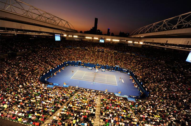 Australian Open Tennis Stadium at night