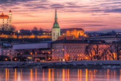 Travel Associates bratislava city and castle at dusk