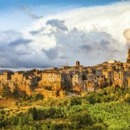 Medieval town of Pitigliano at sunset Tuscany Italy