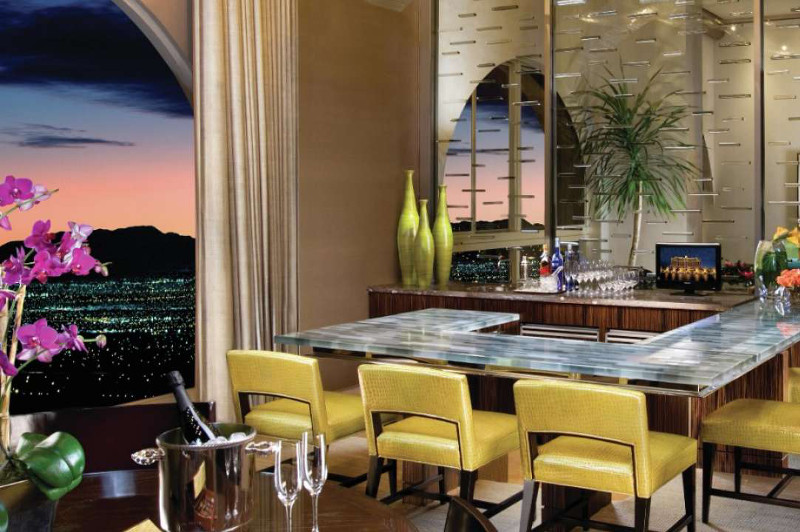The bar inside the Presidential Suite at the Bellagio in Las Vegas.
