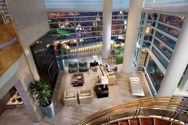 Stunning views of Las Vegas from the Sky Villa's golden staircase. Picture: Aria