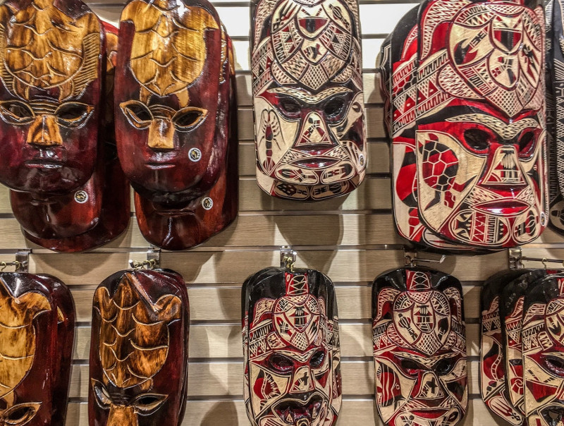 Fijian carved masks souvenirs