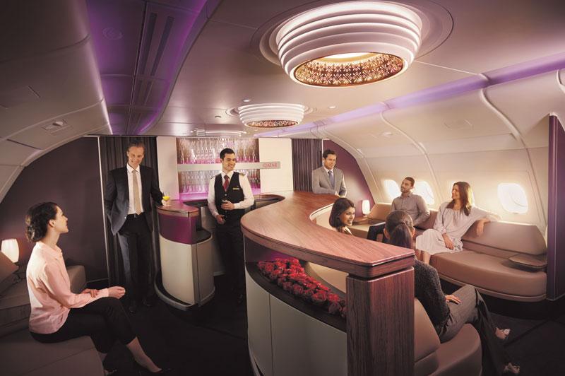 Qatar Airways A380 upper deck lounge