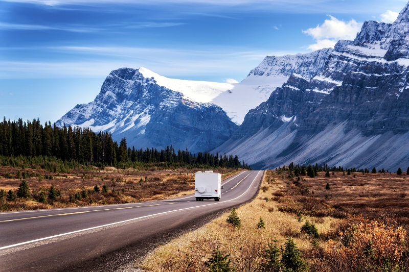 campervan driving along icefields parkway canada