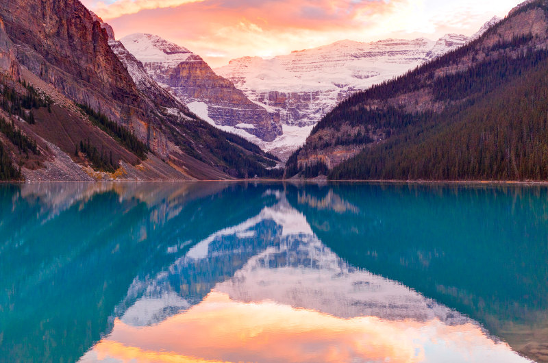 sunset at lake louise, rocky mountains