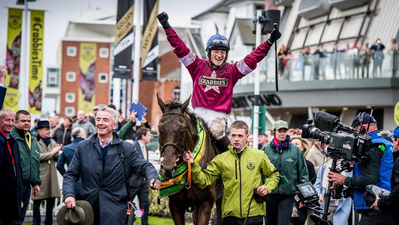 Horse race winner celebrates