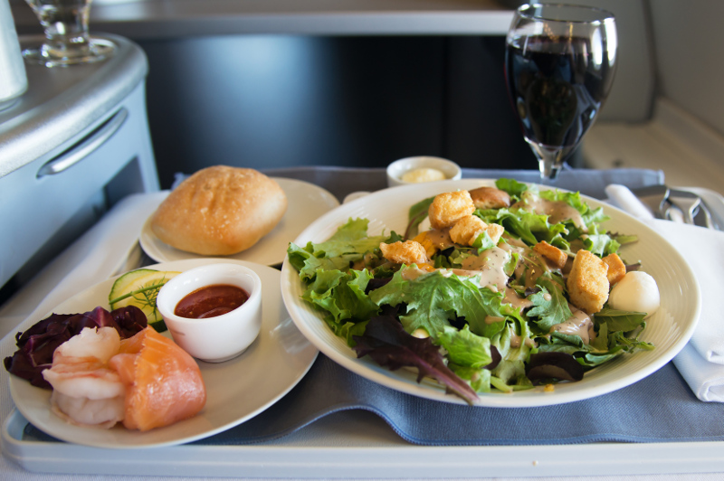 Dining first class on airplane