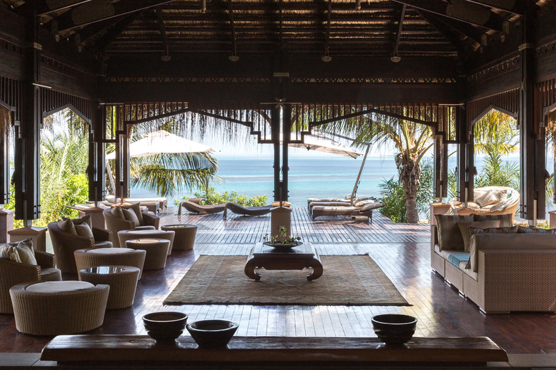 Beautiful view over the ocean through open air lobby
