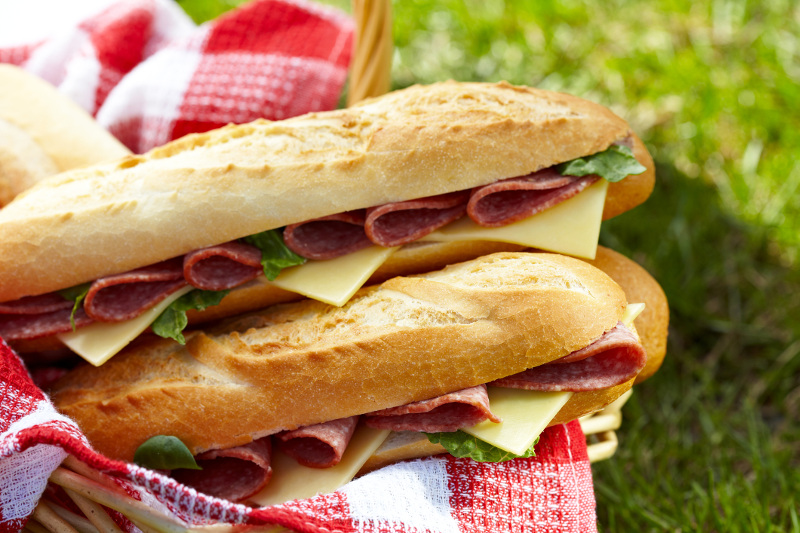 Baguettes with salami and cheese