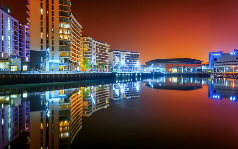 Belfast's modern, glittering waterfront