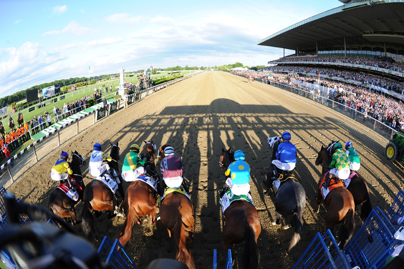 Horses charge out of gate at race course
