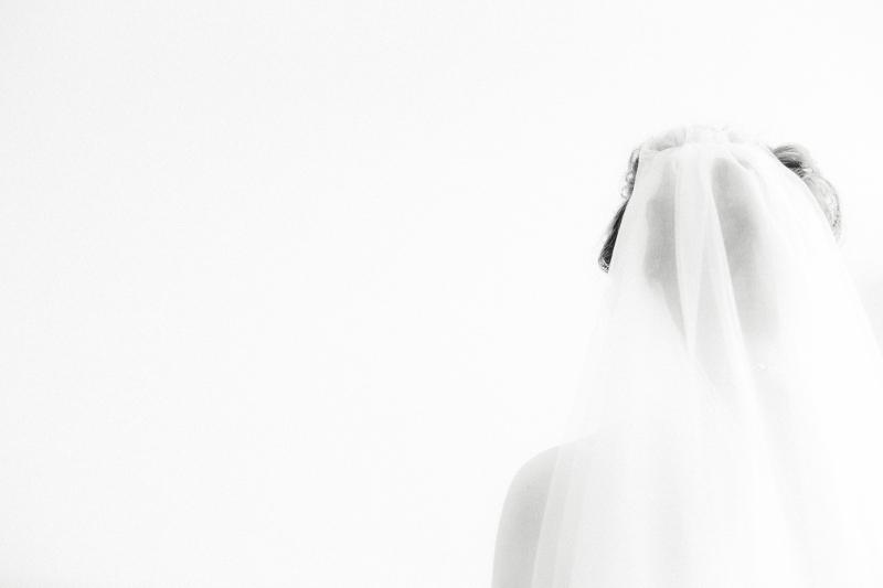 Rear view of bride in veil