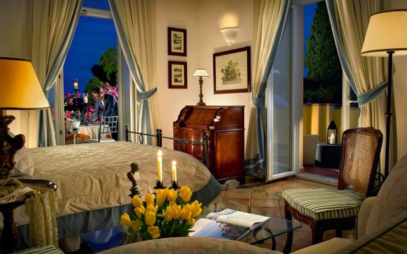 Stylish Italian hotel suite with balconies