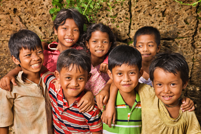 Smiling Cambodian children