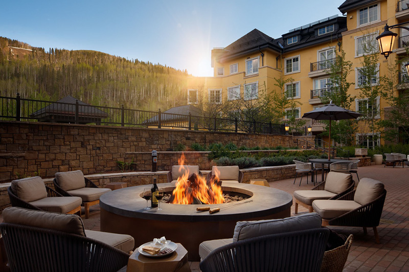 Poolside fire pit at The Ritz-Carlton, Vail (image courtesy of Vail Collective)