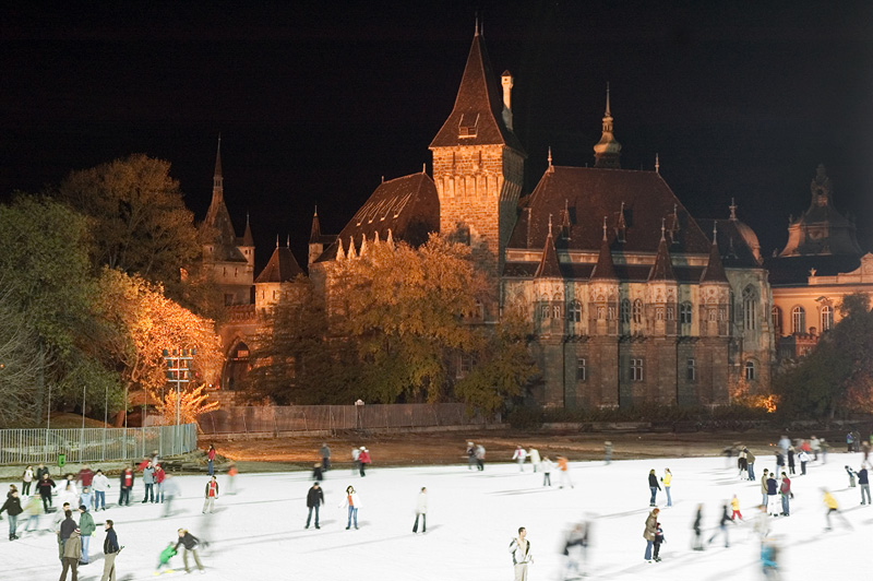 Winter outdoor ice skating in Budapest next to castle gardens