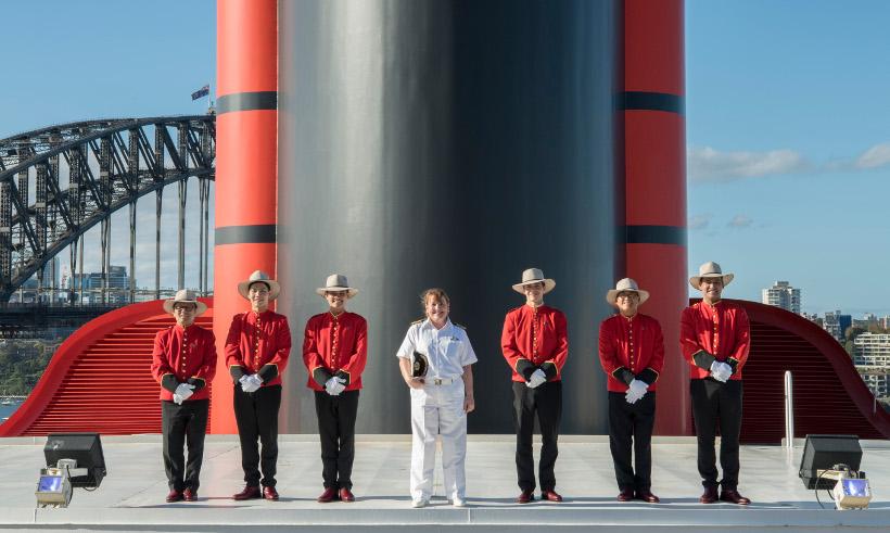 akubra and RM Williams uniforms onboard Queen Elizabeth cunard ship