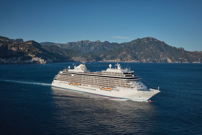 Luxury cruise liner at sea