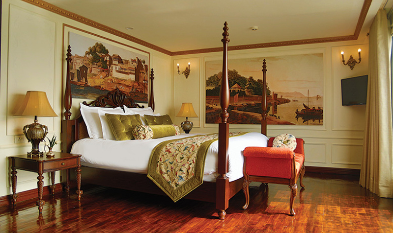 Luxury bedroom aboard Ganges cruise ship RV Voyager