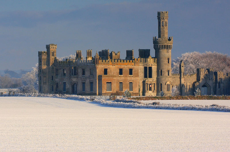 irish castle in snow