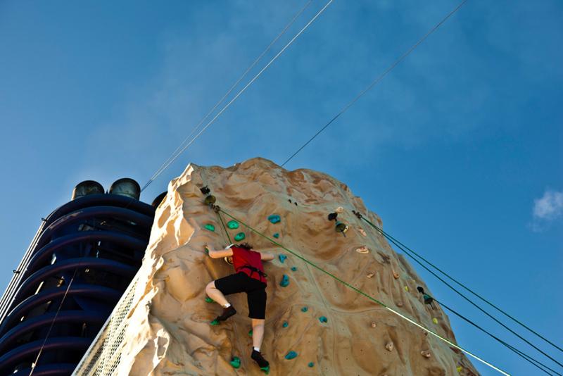 Rockclimbing on cruise ship