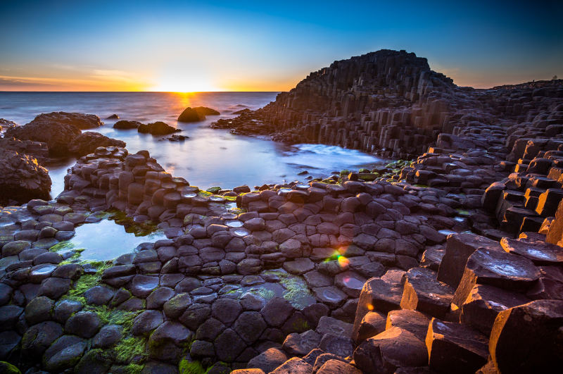 sunset over giants causeway ireland