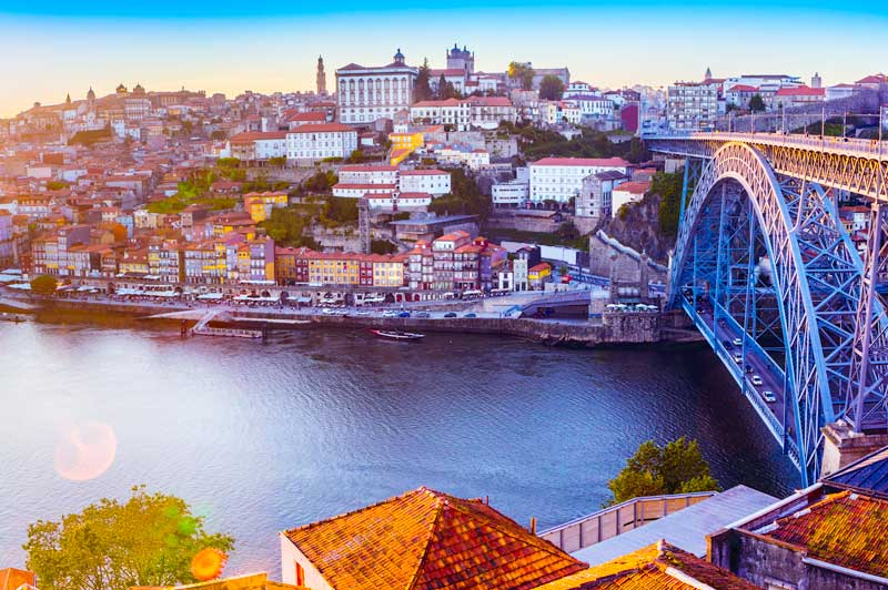 The Douro River along the Ribeira in Porto, Portugal