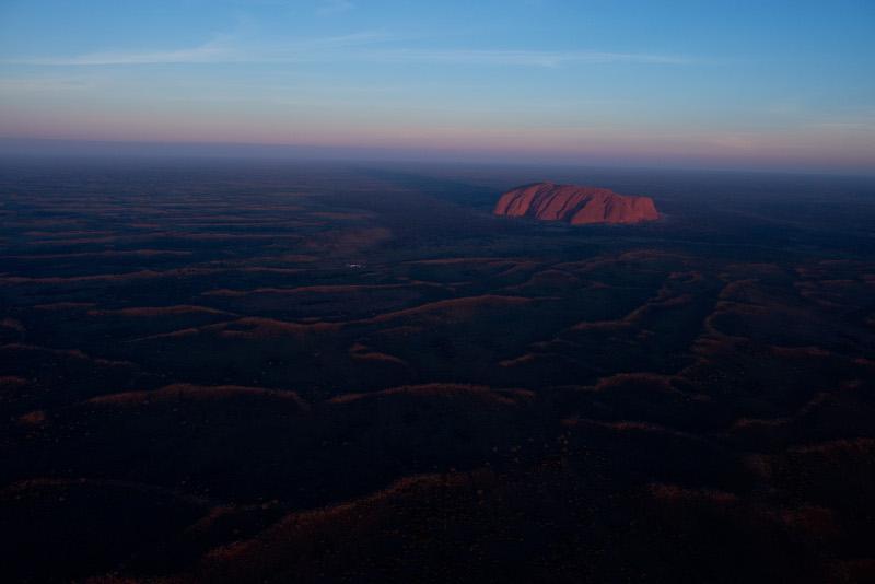 Travel Associates aerial of uluru at dusk