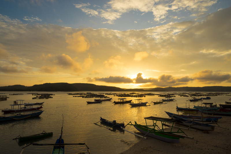 Lombok fishing boats sunrise