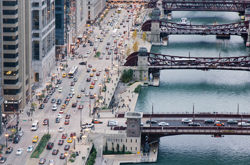 aerial view of cars in chicago