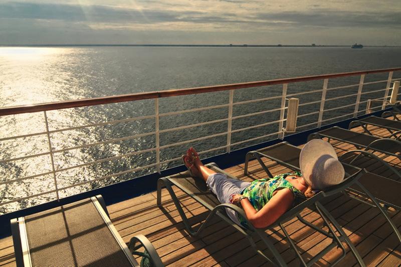 Sun bathing on cruiseship