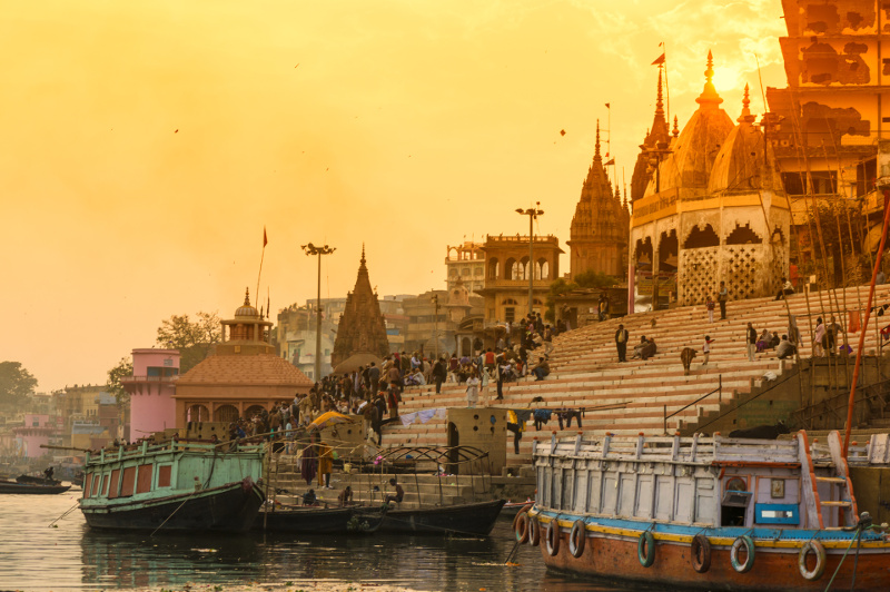 Ghats lead down to the shore of the River Ganges