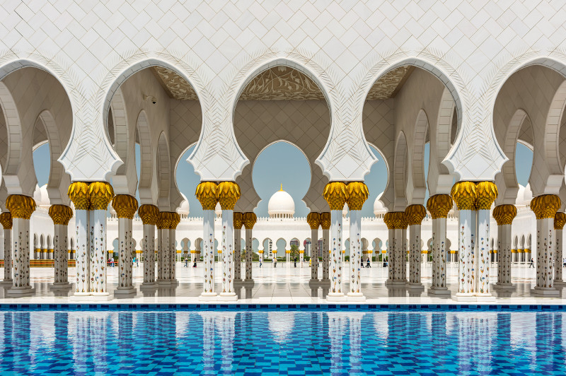 Grand Mosque beautiful arches in Abu Dhabi
